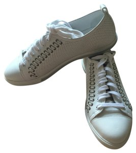 Prada Sneakers Laceup Trainers Perforated Geniune Leather Eyelets White Athletic