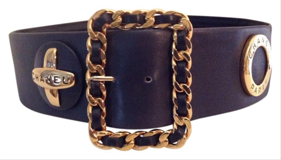 a7c714e72 Chanel RARE VINTAGE CHANEL  93P BLACK LEATHER STATEMENT BELT GOLD PLATED  Image 0 ...
