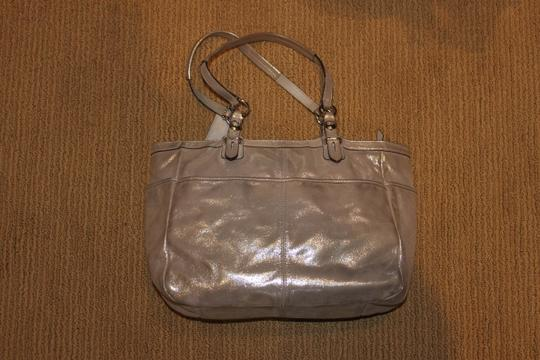 Coach Tote in metallic silver