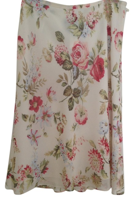 Ann Taylor Skirt Ivory with flowers