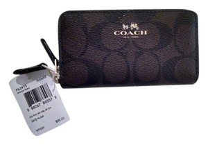 Coach NWT COACH Small Double Zip Coin Case In Signature Logo (F63975)