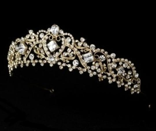 Elegance By Carbonneau Gold Plated Wedding Tiara With Jewelry Set