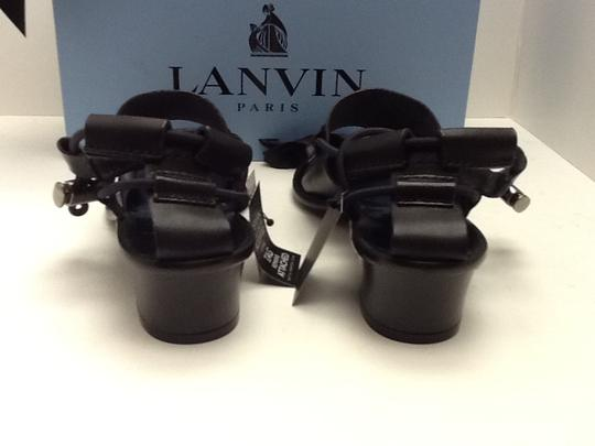 Lanvin Leather Elasticized Straps Black Sandals