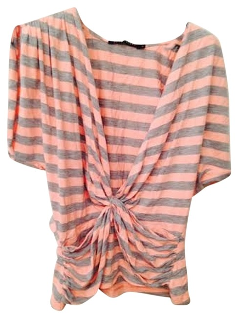 Development Low-cut Sexy Striped Dolman Sleeve Top Pink/gray