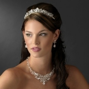 Elegance By Carbonneau Sparkling Tiara And Matching Wedding Jewelry Set