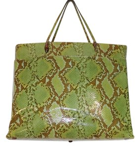 John Galliano Dior Bags Serpent Python Snakeskin Emosed Leather Patent Ather Patent Leather Bags Snakeskin Trend Best Bags Tote in Brown and Green
