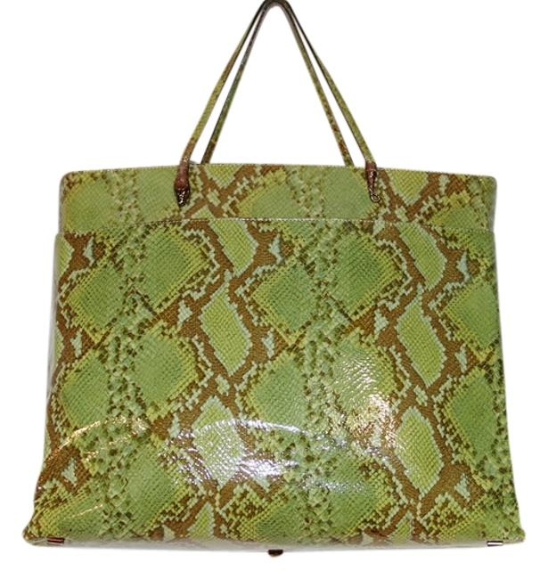 Item - Rare Serpent Python Patent Oversized Handbag Brown and Green Leather Tote