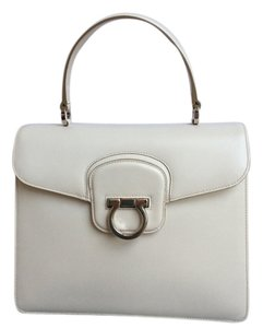 Salvatore Ferragamo Katia Flab Crossbody Satchel in White