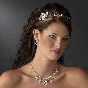 Elegance by Carbonneau Silver/Silver Crystal Headband Matching Jewelry Set