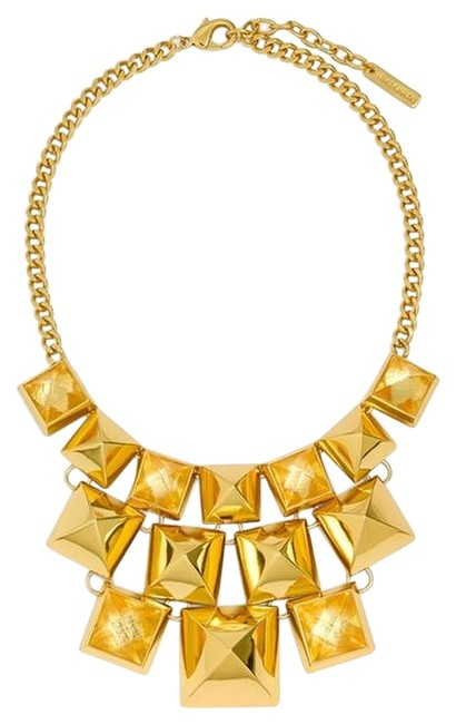 Item - Yellow Gold Clearview Pyramid Statement Necklace
