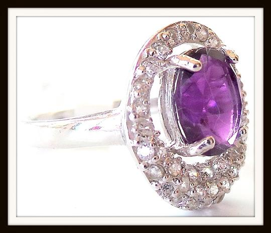Other Natural Amethyst & Zircon 925 Sterling Silver Ring Size 7