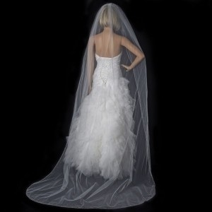 Elegance by Carbonneau Ivory White Or Diamond White Long Beaded Crystal Cathedral Length Bridal Veil