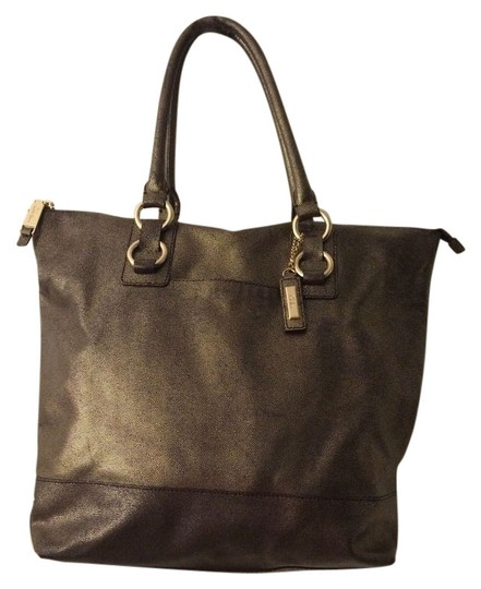 Cole Haan Leather Work Tote in Dark Gold