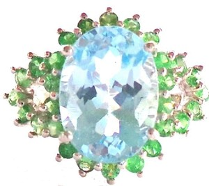 Large Natural Blue Topaz and Tsavorite Garnet 925 Sterling Silver Ring 7