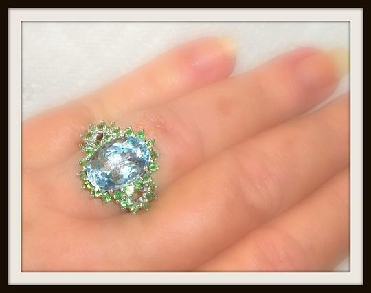 Other Large Natural Blue Topaz and Tsavorite Garnet 925 Sterling Silver Ring 7