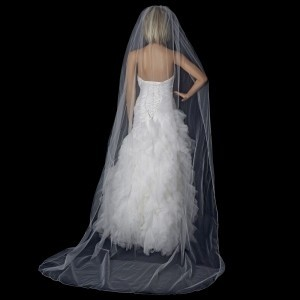 Elegance by Carbonneau White Diamond White Or Ivory Long Cathedral with Rhinestone Trim Bridal Veil