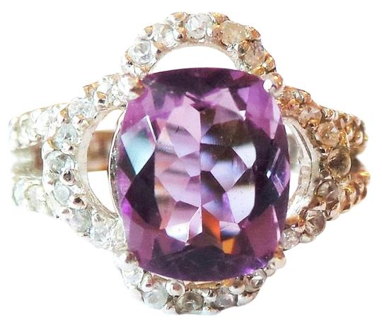 Other Natural Amethyst and White Zircon Cocktail Ring Size 7