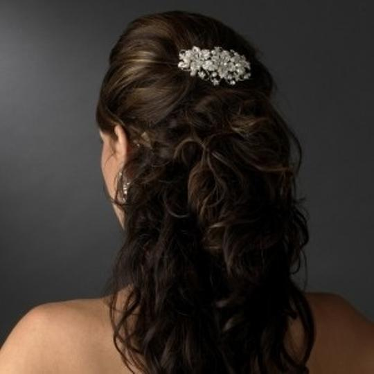 Elegance by Carbonneau Silver/Silver Freshwater Pearl Comb Hair Accessory