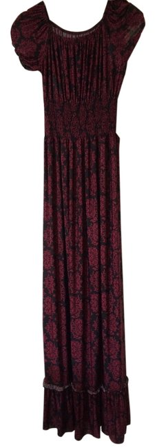 black and deep red Victorian wallpaper print Maxi Dress by Other Maxi