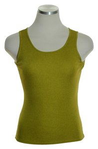 Eileen Fisher Stretch Knit 100% Silk Knit Top Olive Green