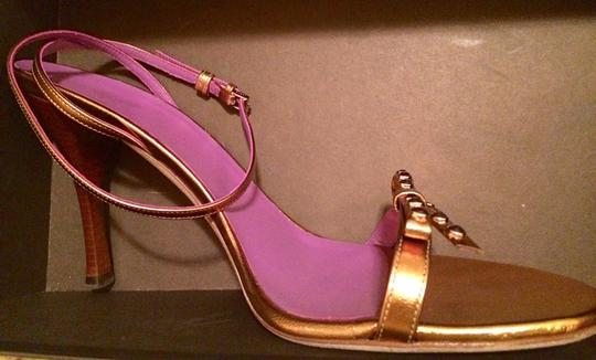 Gucci Bow Copper Gold Stacked Heel Purple/Copper Sandals