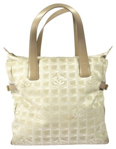 Chanel Cc Logos Travel Line Shoulder Tote in Beige