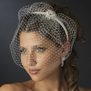 Ivory Birdcage Headband with and Pear Bridal Veil
