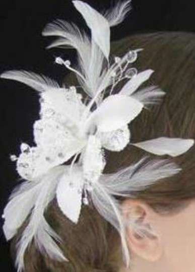 White Or Ivory Lace Flower Fascinator with Feathers and Crystals Hair Accessory