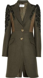 Emilio Pucci Embroidered Beaded Black Pea Coat