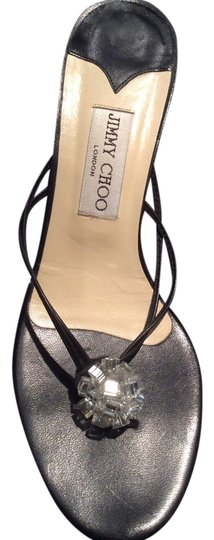 Jimmy Choo Designer Sexy Black and Crystal Sandals