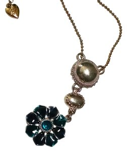 Betsey Johnson Betsey Johnson Flower Sweater Necklace Silver Blue Pendant J1231