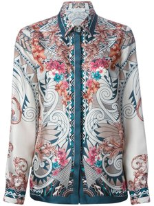 Versace Silk Baroque Gold Hardware Floral Jewel Tones Longsleeve Button Down Top Multiocolor