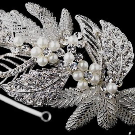 Elegance by Carbonneau Silver/Ivory Crystal and Pearl Leaf Headband Hair Accessory