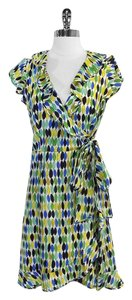 Nanette Lepore short dress Green Blue Print Silk on Tradesy