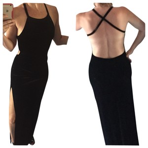 Lucca Backless Velvet Black Slit Gown Dress