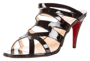 Christian Louboutin Patent Patent Leather Strappy Slingback Peep Toe Zorro 85 Cut Out Black Sandals