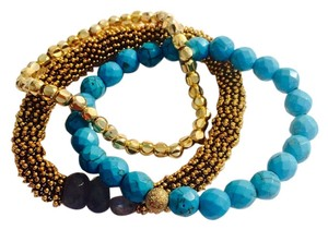 Sisco Berluti Sisco Berluti Bracelet Stack stretch bracelet set with brass, turquoise, and labradorite pouch included (NWT)