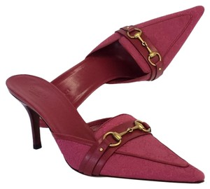 Gucci Raspberry Monogram Pointed Toe Slide Heels Heels Pumps