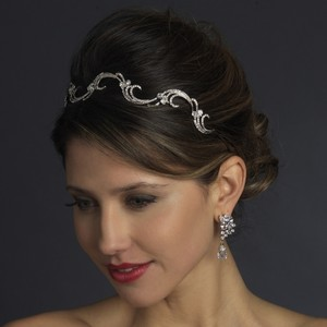 Antique Silver Crystal Vine Wedding Bridal Headban