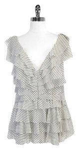 Badgley Mischka Polka Dot Silk Ruffled Top