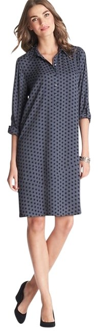 Ann Taylor LOFT short dress Grey Tunic Shirtdress Polka Dot Evening Chic Classy Feminine Romantic on Tradesy