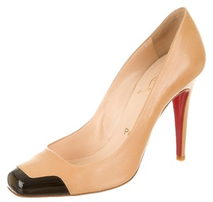 Christian Louboutin Nude Tan Leather Black Patent Patent Leather Square Toe Cap Toe Stiletto Beige Pumps