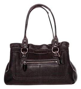Coach Shopper Pebbled Leather Satchel in Black