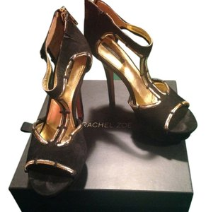 Rachel Zoe Leather Suede Gold BLACK Sandals
