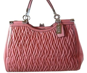 Coach Twisted Leather Rare Elegant Madison Gathered Twisted Satchel in Tearose