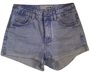 Topshop Cutoff Jean Jean Destroyed High Waist High Rise Sexy Comfortable Cuffed Shorts Light wash denim