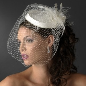 Elegance by Carbonneau White Or Ivory Beaded Hat with Birdcage Veil Hair Accessory