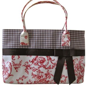 Talbots Fabric Tote in Brown, White, and Pink