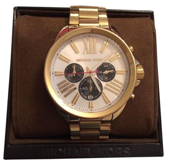 Michael Kors Michael Kors Gold Watch with Navy and White Detail