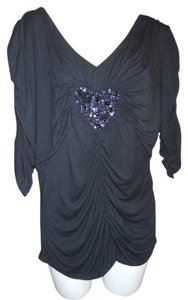 Marc Bouwer Beaded Sequin Knit Top black